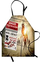 Ambesonne Zombie Apron, Dead Man Walking in Dark Danger Scary Scene Fiction Halloween Infection Picture, Unisex Kitchen Bib with Adjustable Neck for Cooking Gardening, Adult Size, Red Sepia