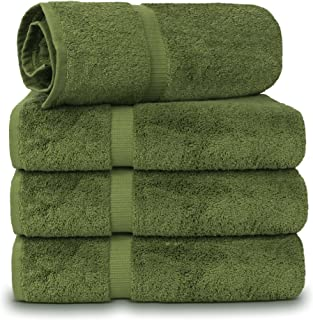 TURKUOISE TURKISH TOWEL 100 Turkish Cotton Luxury and Super Soft Towels (Bath Towel 4PK, Moss)