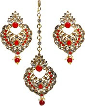 Jewel India Traditional Bollywood Style Indian Wedding Bridal Pakistani Red Maang Tikka Fore Head Chain Jewelry with Earrings Set Matha Patti for Women