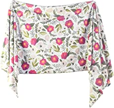 Extra Soft Knit Swaddling Receiving Blanket Fuchsia Florals by Village Baby