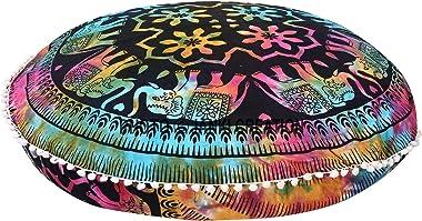 Pouf Round Floor Cotton Mandala Elephant Design Tye - Dye Round pom Pom Round Tapestry Pouf , Hippie Hippy Size 32X32 Throw D