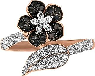Olivia Paris 14k Rose Gold Black and White Diamond Flower Bypass Ring for Women (3/4 cttw)