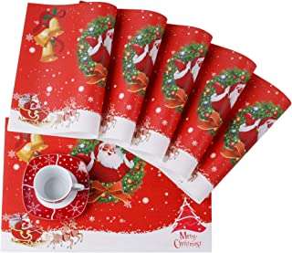 VEWEET, Série Christmas, Sets de Table Plastique Lavable 6 Pièces, Napperons Rectangulaire Antidéparant Résistant à Chaleu...