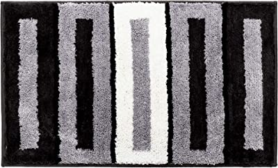 "HOMIBAY Striped Floor Mat Flocked Home Rugs Living Room Bathroom Bedroom Home Decoration Floor Nonslip Machine Washable (20"" x 30"", Stripe Black)"
