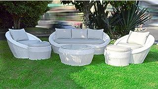 Scaramuzza Modo Salotto da Giardino 5 posti in Alluminio Tortora Cuscini Inclusi per Esterno