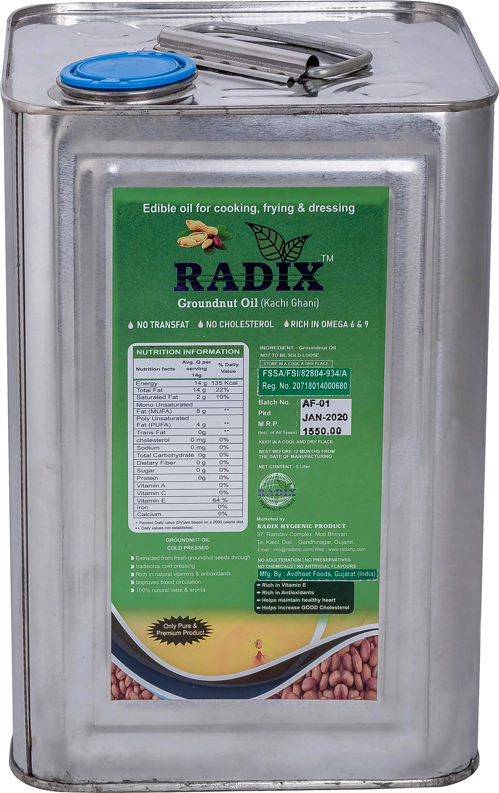 Radix Cold Pressed Groundnut Oil/ Peanut Oil/ Extra Virgin, Natural, Unrefined Groundnut Oil/ Kohlu (Chekku) Oil for Cooking/ No Cholesterol, No Transfat, Excellent for Heart Health (5 Liter)