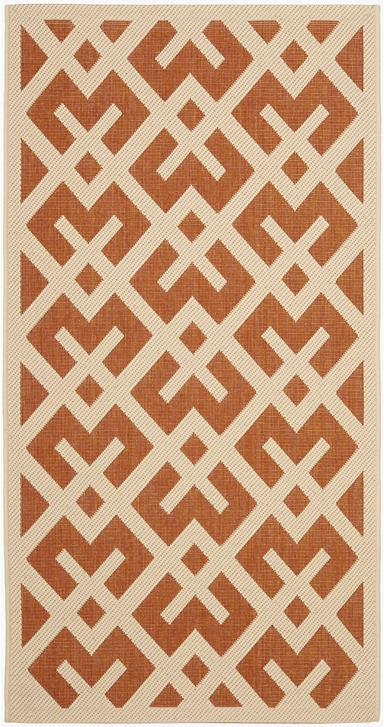 Safavieh Courtyard Collection CY6915-231 Terracotta and Bone Indoor  Outdoor Area Rug (4' x 5'7 )