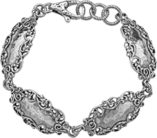 925 Sterling Silver Lace Station Bracelet by Paz Creations Fine Jewelry, Made in Israel