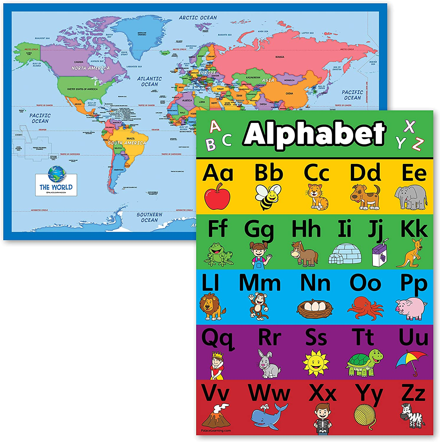 2 Pack - World Map for Kids + Lam Animals Alphabet Poster Max Complete Free Shipping 55% OFF ABC