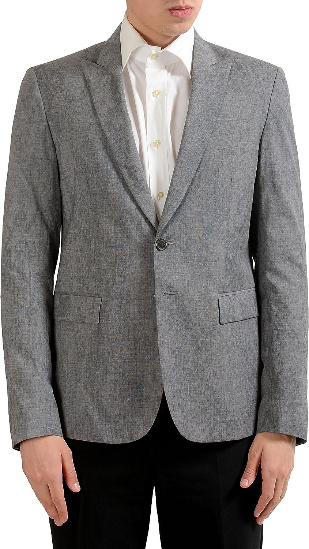 Just Cavalli Men's 100% Wool Gray Two Button Blazer Sport Coat US 38 IT 48