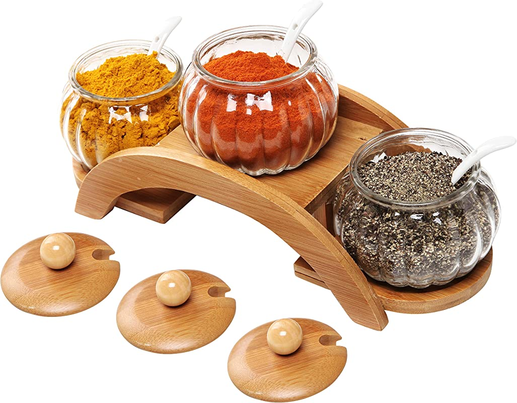 Set Of 3 Clear Glass Condiment Spice Jars Ceramic Serving Spoons 2 Tier Wood Display Rack MyGift