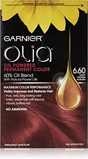 Garnier Hair Color Olia Oil Powered Permanent Hair Color, 6.60 Light Intense Auburn, 3 Count  (Packaging May Vary)