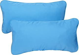 Mozaic Company Sunbrella Indoor/ Outdoor 12 by 24-inch Corded Pillow, Capri Blue, Set of 2