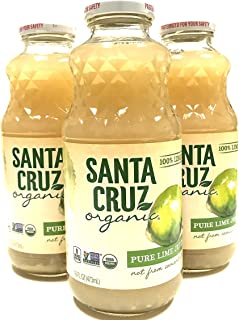 Santa Cruz Organic 100% Single Strength Lime Juice 16 Ounces   Pack of 3 (Not From Concentrates)
