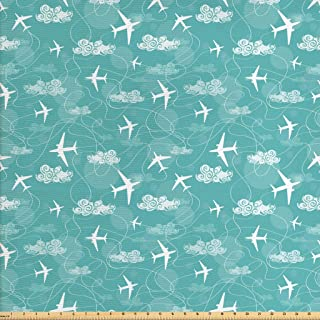 Ambesonne Airplane Fabric by The Yard, Disoriented Flying Jets in Clear Sky with Curly Clouds Travel Vacation Theme, Decorative Fabric for Upholstery and Home Accents, 1 Yard, Turquoise White
