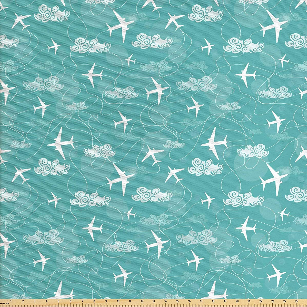 Ambesonne Airplane Fabric The Yard, Disoriented Flying Jets in Clear Sky Curly Clouds Travel Vacation Theme, Decorative Fabric Upholstery Home Accents, 2 Yards, Turquoise White