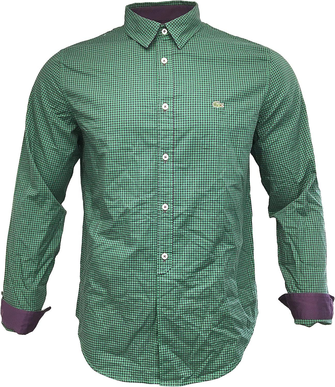 Lacoste Men's Button Up Long Sleeve Shirt 100% Cotton Slim Fit