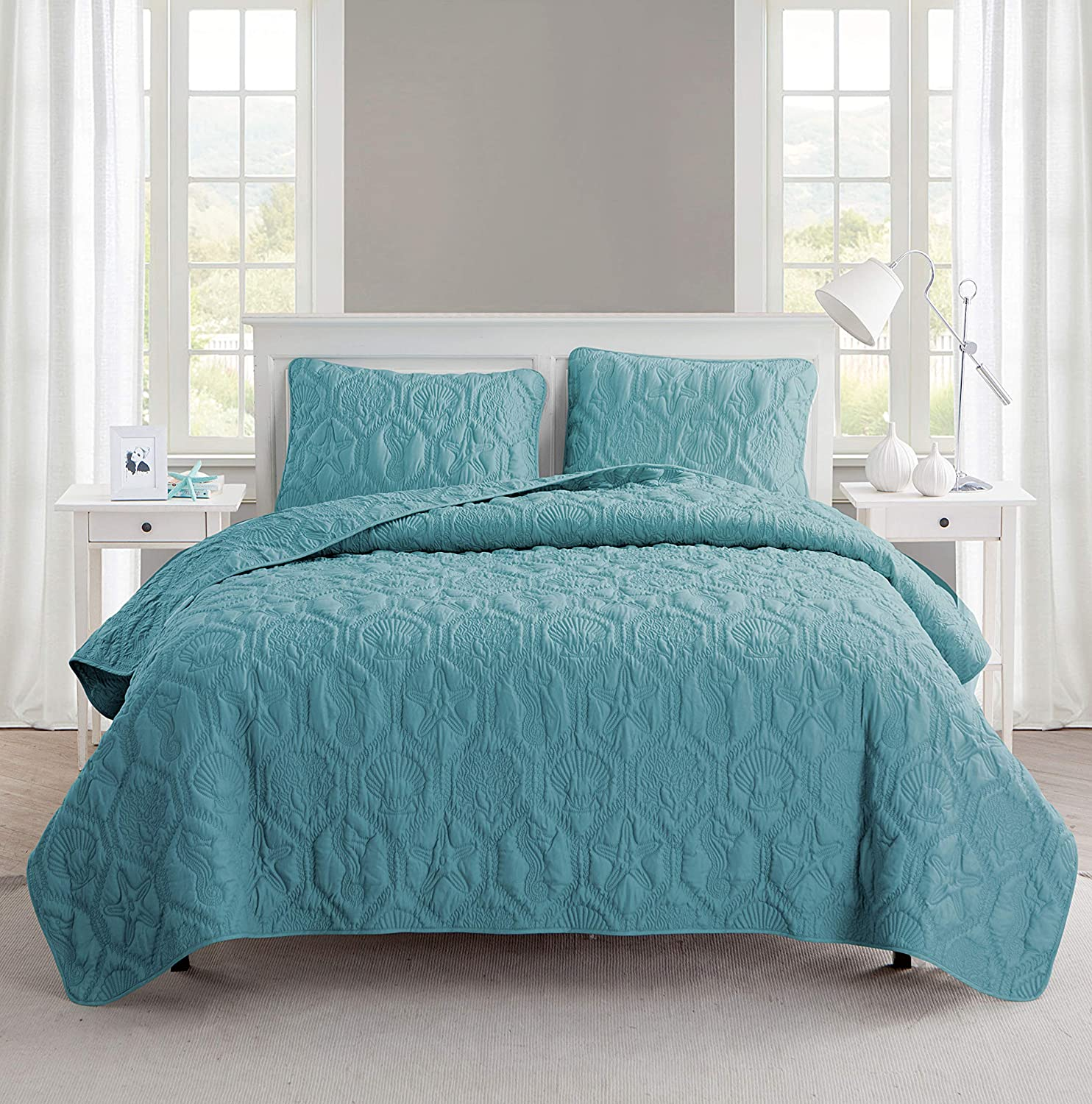VCNY Home Shore Quilt Set King bluee,
