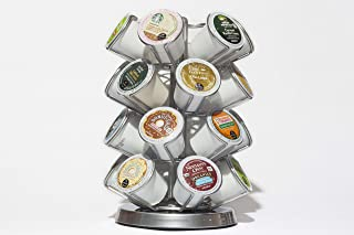 Java Concepts Keurig 24 Count Deluxe Steel Spinning Carousel. K Cup, All Chrome