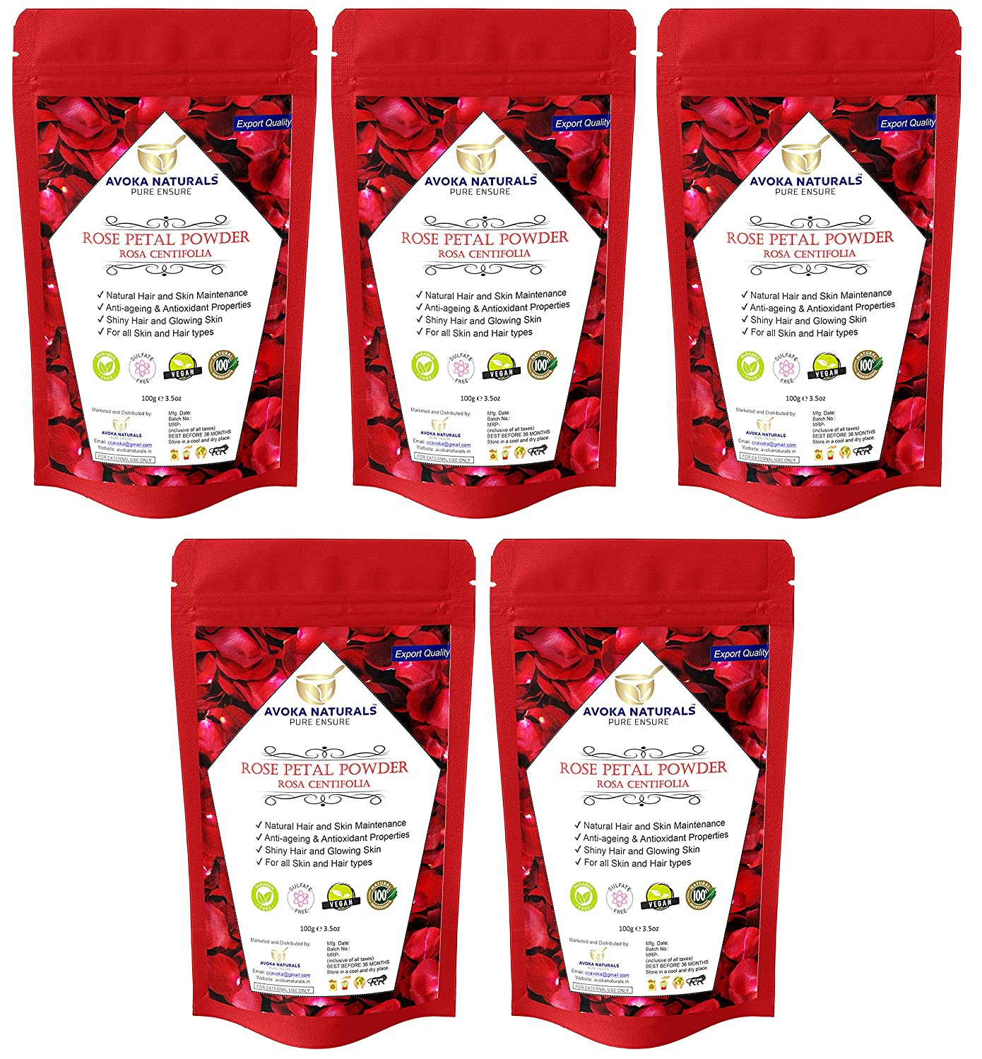 Avoka Naturals Rose SEAL limited product Petals Powder Skin And Sale SALE% OFF Pack P 5X100gm Face