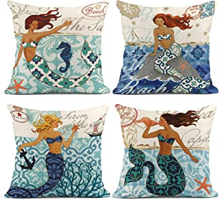 Emvency Set of 4 Throw Pillow Covers Summer Ocean Theme Nautical Coastal Mermaid Mediterranean Style Navy Decorative Pillo...