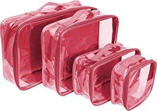Clear Packing Cubes Set of 4 / Packs 7-10 Days of Clothes/Premium PVC Plastic Storage Cube (Burgundy)