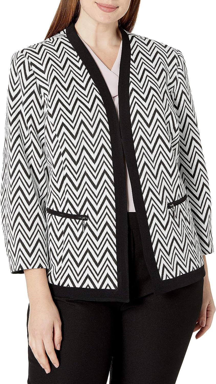 Kasper Women's Zig Zag Jacket Very popular Complete Free Shipping Away Fly Knit