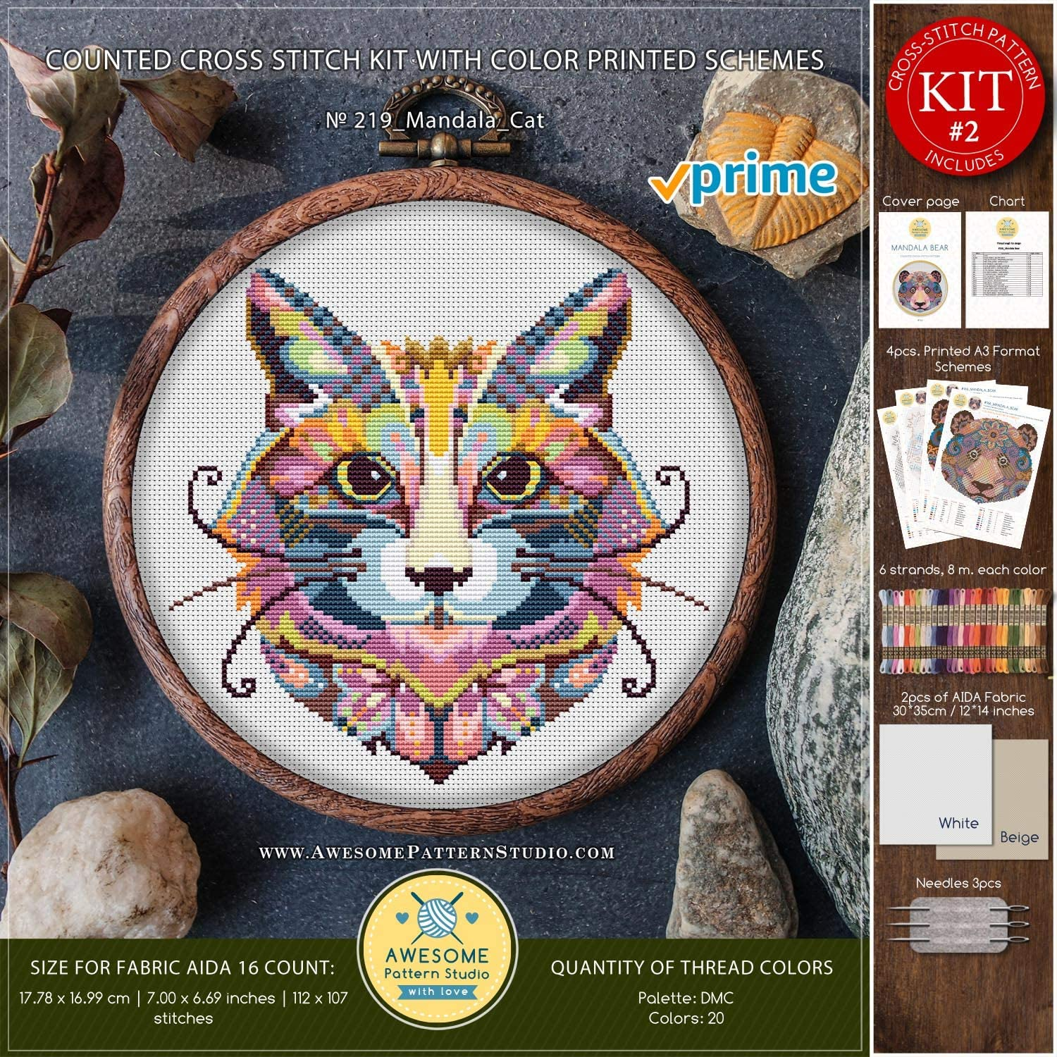 Fabrick and 4 Printed Color Schemes Inside Embroidery Pattern Kit Mandala Cat K219 Counted Cross Stitch KIT#2 Threads Needles