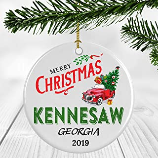 2019 Merry Christmas Ornament Kennesaw Georgia State - Bringing Home The Tree, Vintage Red Truck With Christmas Tree - Funny Christmas Ornament 3