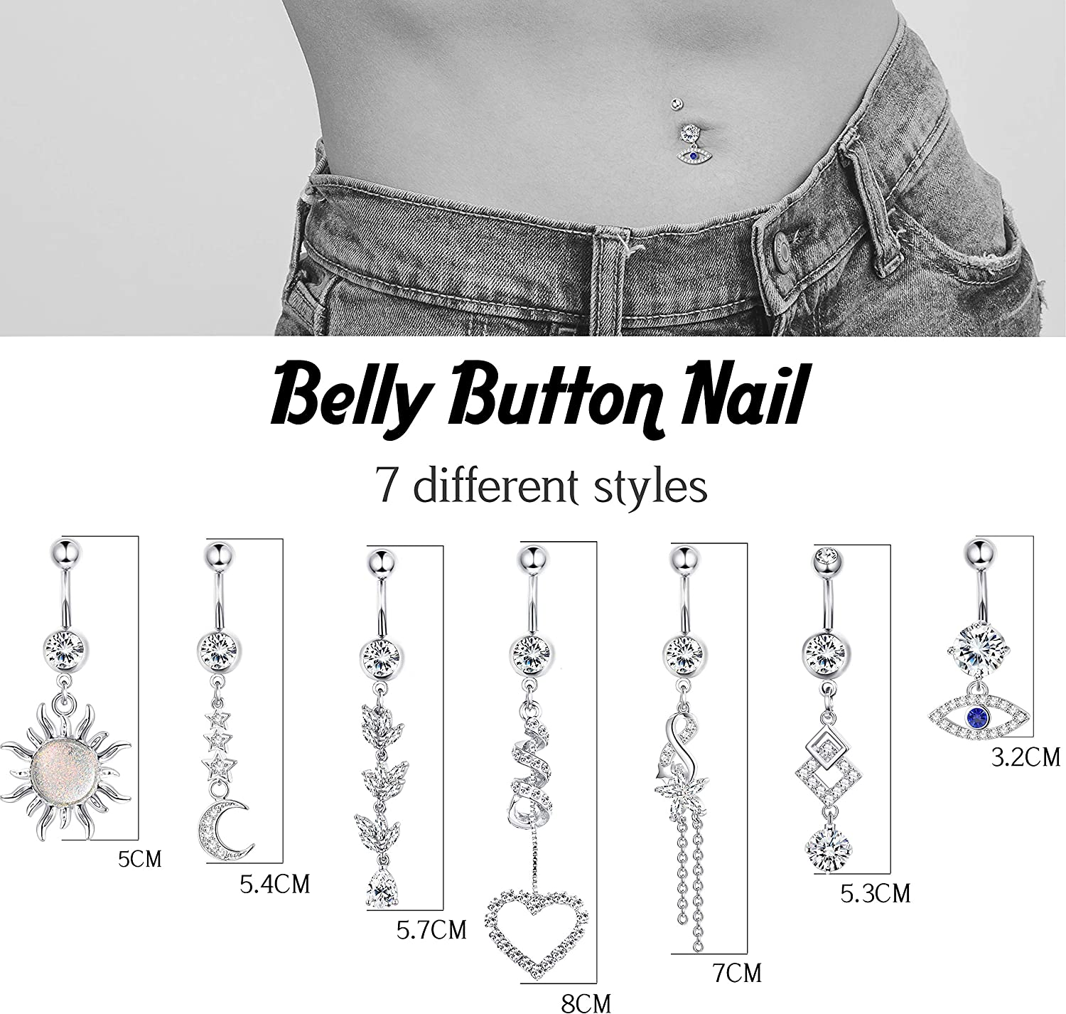 Udalyn 7Pcs 14G Dangle Belly Button Rings Surgical Steel Belly Rings for Women Navel Rings Barbell CZ Body Piercing Jewelry