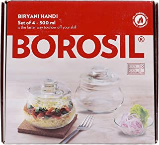Borosil Biyani Handi Set, 500ml, 4 Pieces