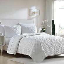 Ellison 3 Piece Ardmore Solid Lattice Quilt Set, Full/Queen, White