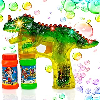 Toysery Dinosaur Bubble Shooter Gun Light Up Bubbles Blower with LED Flashing Lights and..