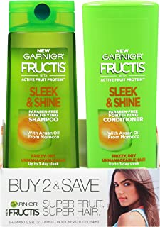 Garnier Fructis Sleek & Shine Shampoo & Conditioner 2 Pack, Frizzy, Dry, Unmanageable Hair , 1 kit
