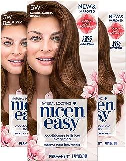 Clairol Nice'n Easy Permanent Hair Color, 5W Medium Mocha Brown, Pack of 3