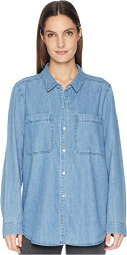 Organic Cotton Drapey Denim Classic Collar Shirt