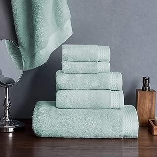 Welhome Madison Hygro Cotton Tencel 6 Piece Towel Set (Pale Aqua) - Premium - Ultrasoft - High Absorbency - Durable - Hotel Spa Bathroom Towel Collection - 575 GSM - 2 Bath - 2 Hand - 2 Wash Towels