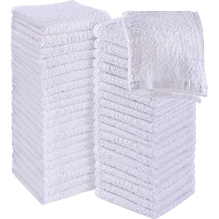 Utopia Towels Cotton White Washcloths Set - Pack of 60 - 100% Ring Spun Cotton, Premium Quality Flannel Face Cloths, Highly Absorbent and Soft Feel Fingertip Towels