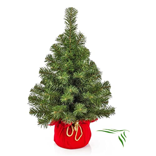 artplants Mini sapin de Noël artificiel VARSOVIE, vert, rouge, 60 cm, Ø 40 cm - Arbre de Noël plastique/Sapin artificiel PVC