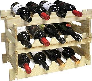 Vin Bouquet FIC 163 - Botellero 12 Botellas, Almacenaje Botellas, Estanteria Botellas, Vino, Champagne, Madera de Pino, Marrón