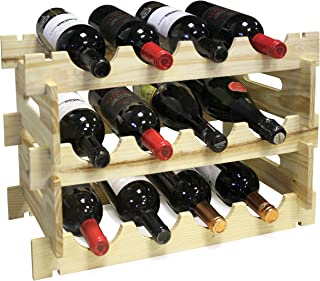 Vin Bouquet FIC 163 Contemporary Modular Design Wooden Wine Rack-Holds 12 Bottles -Easy to Assemble Will Hold Champagne Prosecco Port and Fizzy Drink Bottles