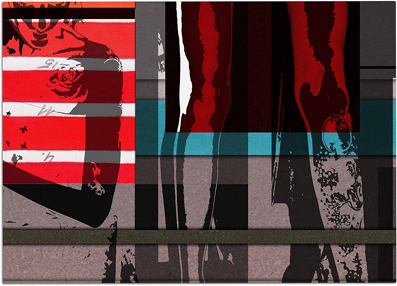 KESS InHouse IJ1018ADM02 Ivan Joh Temptation Red Teal Dog Place Mat, 24  x 15