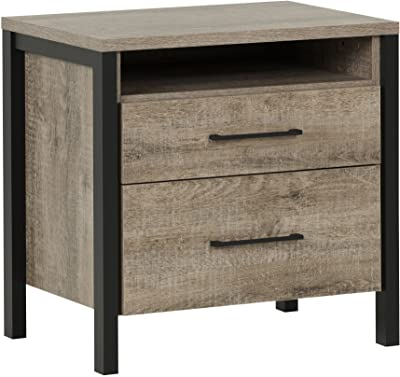 South Shore Munich 2-Drawer Nightstand, Weathered Oak and Matte Black with Metal Handles