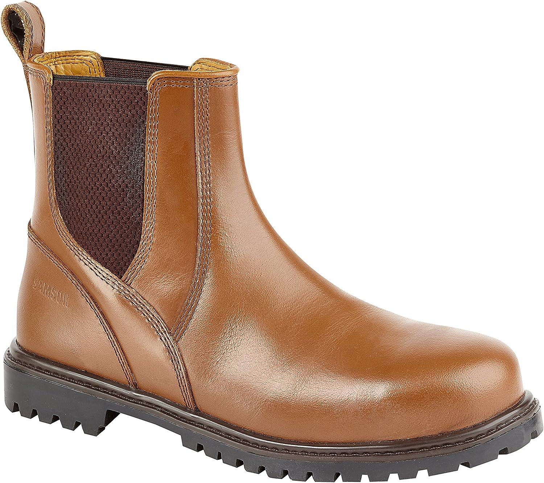 Samson 7046 S3 SRC Brown RedSkin Steel Toe Chelsea Dealer Safety Boots Work Boot