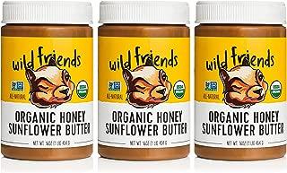 Wild Friends Honey Sunflower Butter, 16 Ounce Jars (3 Count), Organic, Gluten Free, Palm Oil Free