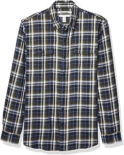 Men's Slim-Fit Long-Sleeve Plaid Two-Pocket Twill Shirt