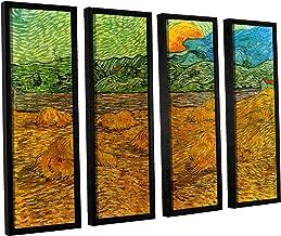 ArtWall 4 Piece Vincent Vangogh's Evening Landscape with Rising Moon Floater Framed Canvas Artwork, 36