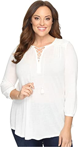 Lucky Brand Plus Size Lace Front Peasant
