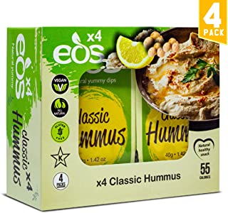 EOS Classic Hummus All-Natural Chickpeas Tahini Dip Clean Healthy Snack Bean Dip for Pita Chips Plant Based Protein High Fibre Good Fat Low Calorie Vegan Non-GMO Kosher Gluten Free (4 x 1.42oz Cups)