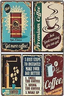 UNIQUELOVER Funny Coffee Signs, Premium Coffee Vintage Retro Metal Coffee Signs Home Decor 12 X 8 Inches